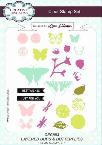 Creative Expressions - Layered Buds & Butterflies A5 Clear Stamp Set - CEC893