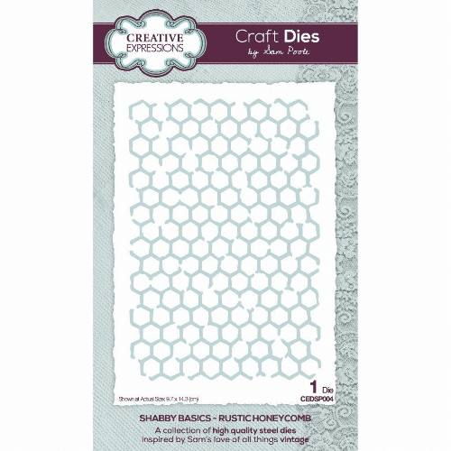 Creative Expressions Sam Poole Craft Die - Shabby Basics Rustic Honeycomb