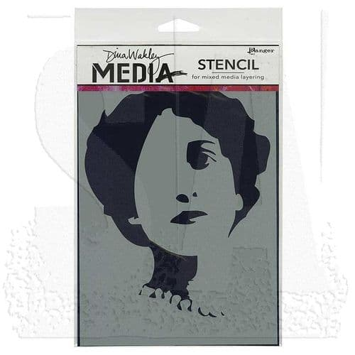 Dina Wakley Media Stencil - Stenciled Queenie - MDS44239
