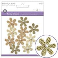Forever in Time - Burlap Daisies – Sahara - Small 32mm - MFE140B
