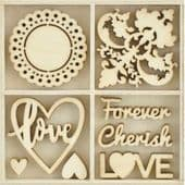 Kaisercraft Wooden Flourish Pack - Be Mine - FL638