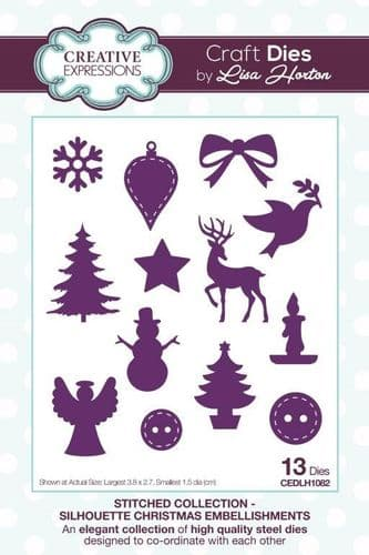 Lisa Horton Craft Dies - StitchedCollection - Silhouette Christmas Embellishments -CEDLH1082