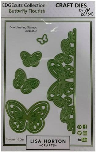 Lisa Horton Crafts EdgeCUTZ dies - Butterfly Flourish