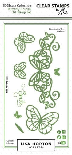 Lisa Horton Crafts EdgeCUTZ Stamp - Butterfly Flourish