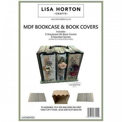 Lisa Horton Crafts - MDF Bookcase and Greyboard Books with Spines