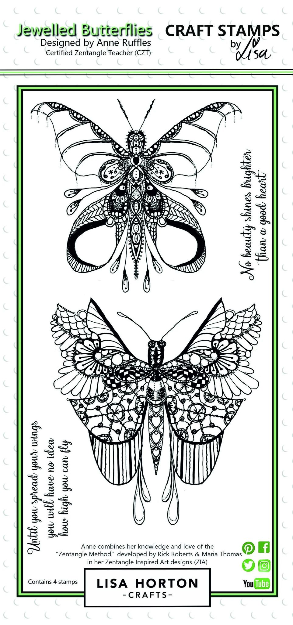 Lisa Horton Crafts Stamp - Jewelled Butterflies