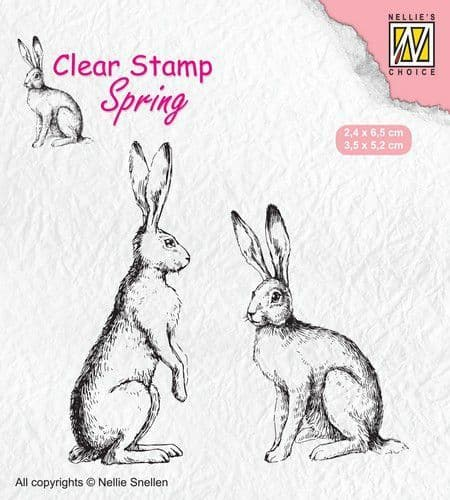 Nellie Snellen - Spring Clear Stamp - Two Hares - SPCS014