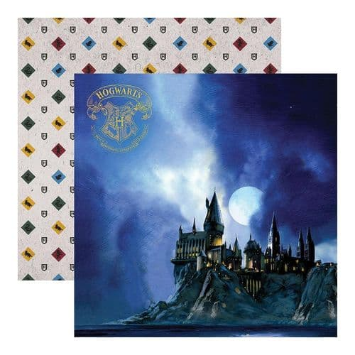 "Paper House Double-Sided Cardstock 12""X12"" - Harry Potter - Hogwarts at Night"
