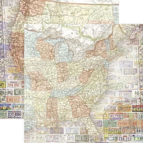 "Paper House Double-Sided Cardstock 12""X12"" - United States Map"