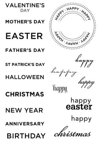 Paula Pascual Designs Clear Stamp - Large All Year Round Messages