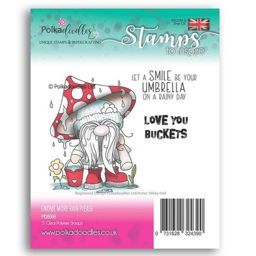 PolkadoodlesClear Stamp Set - Gnome More Rain - PD8069
