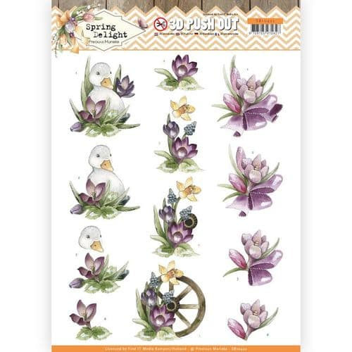 Precious Marieke 3D Push Out Decoupage - Spring Delight - Purple Crocus