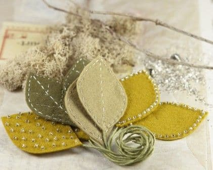 Prima Flowers - Vermont Stitched Leaves - Ochre - 553647