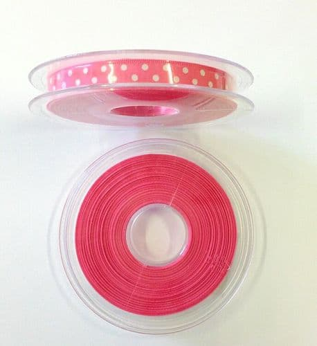 Ribbon – Satin Bright Pink/White Polka Dots 4 Metres x 10mm