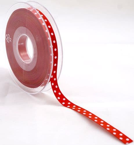 Ribbon – Satin Red With White Polka Dots 4 Metres x 10mm