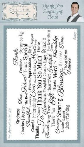 Sentimentally Yours Rubber Stamp - Thank You Sentiment Cloud