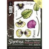 Sheena Douglass Perfect Partners - Victorian Floral Pansy - A6 Rubber Stamp Set -SD-PPS-PAN