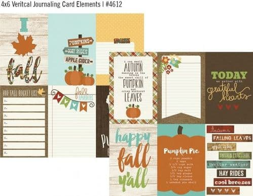 Simple Stories - Pumpkin Spice - Journaling Card Elements 12x12 Paper
