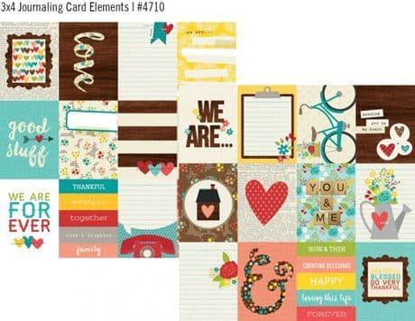 Simple Stories - We Are Family - 3x4 Journaling Card Elements 12x12 Paper