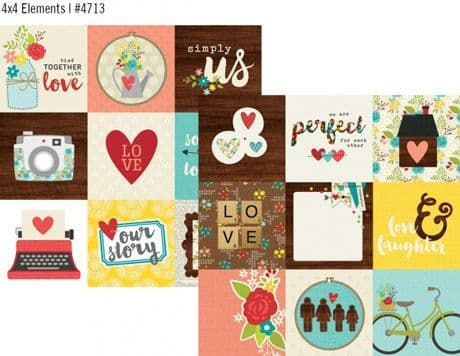 Simple Stories - We Are Family - 4x4 Journaling Card Elements 12x12 Paper