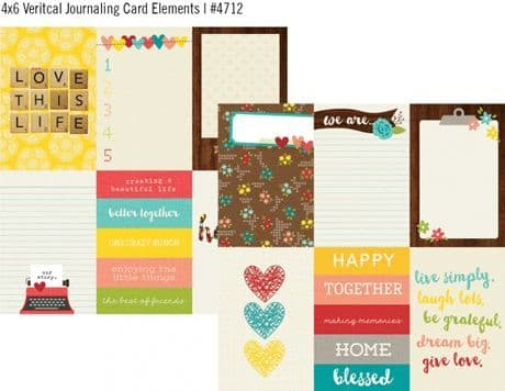 Simple Stories - We Are Family - 4x6 Vertical Journaling Card Elements 12x12 Paper