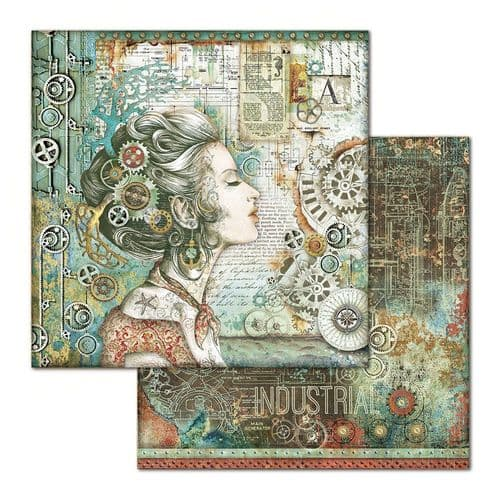 Stamperia 12x12 Paper Sheet - Mechanical Sea World Lady