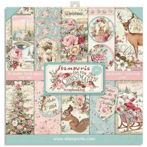 Stamperia 8x8 Paper Pad - Pink Christmas
