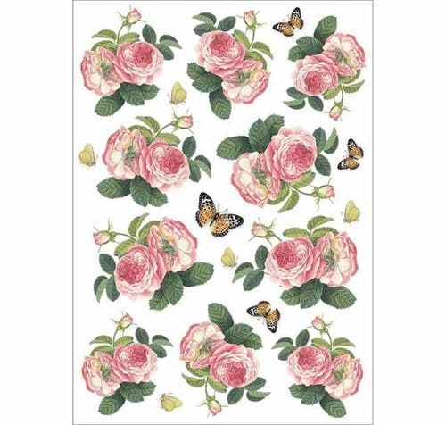 Stamperia A4 Rice Paper - Roses & Butterfly - DFSA4378