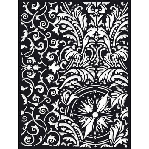 Stamperia Thick A5 Stencil - Sir Vagabond Wallpaper & Compass