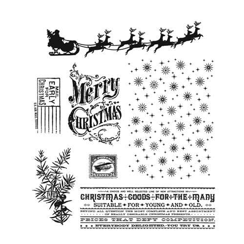 Stampers Anonymous/Tim Holtz - Cling Mount Stamp Set - Christmas Nostalgia - CMS207