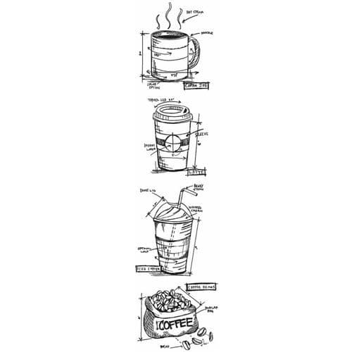 Stampers Anonymous/Tim Holtz - Cling Mount Stamp Set - Fresh Brewed Mini Blueprints Strip - THMB025