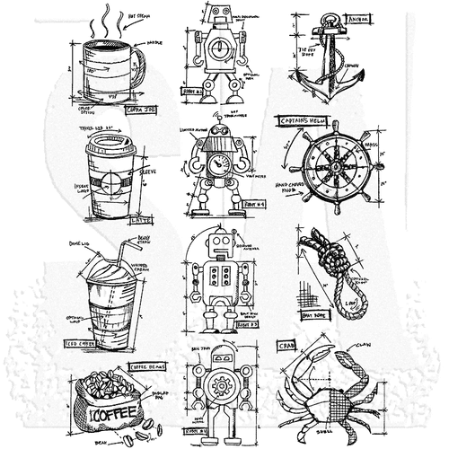 Stampers Anonymous/Tim Holtz - Cling Mount Stamp Set - Mini Blueprints 9 - CMS235