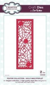 Sue Wilson Craft Dies - Festive Collection - Holly Mini Striplet - CED3039