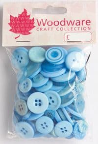 Woodware Assorted Buttons - Baby Blue - BT022