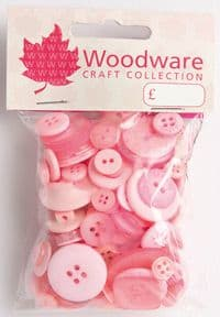 Woodware Assorted Buttons - Baby Pink - BT009
