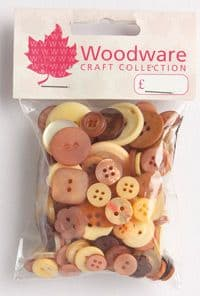 Woodware Assorted Buttons - Coffe and Cream - BT038
