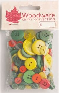 Woodware Assorted Buttons - Primary - BT043