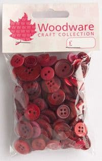 Woodware Assorted Buttons - Shades of Red - BT033