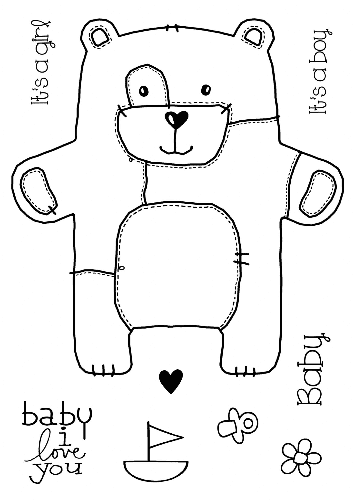Woodware Clear Singles Stamp - Baby Patch Bear