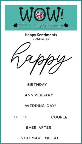 WOW! Clear Stamp Set - Happy Sentiments (by Verity Biddlecombe)