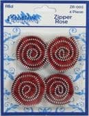 Zipper Roses Red, Pack of 4 - Part Number: ZR-002