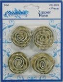 Zipper Roses Tan, Pack of 4 - Part Number: ZR-003