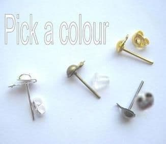 ½ ball ear posts with backs x 24.Pick a colour.