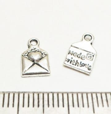'Made with Love' envelope charms x 16. 10mm x 6mm