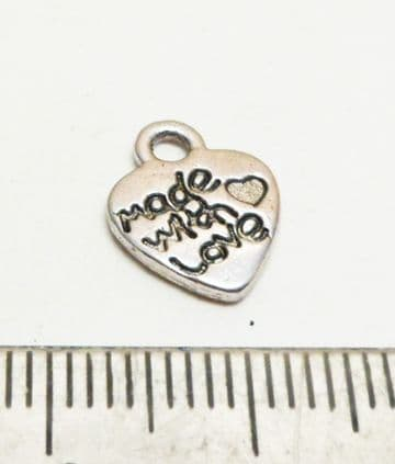 'Made with love' heart charms x 10. 12mm x 10mm.