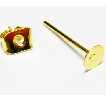 10 flat ear posts with butterfly backs. Gold Plated 6mm diam.