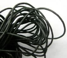 8yds of Black waxed cotton cord - 1mm.
