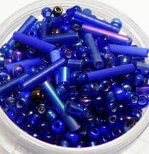Blue seed beads with 9mm tubes. 10g.