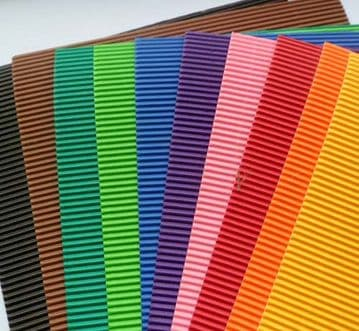 Corrugated card 10 x A4 sheets x 10 different colours.