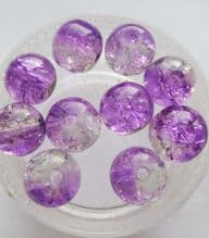 Crackle Beads 8mm x 10 Purple/Clear